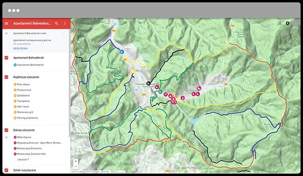 Wirtualna mapa ze szlakami turystycznymi okolice wisły