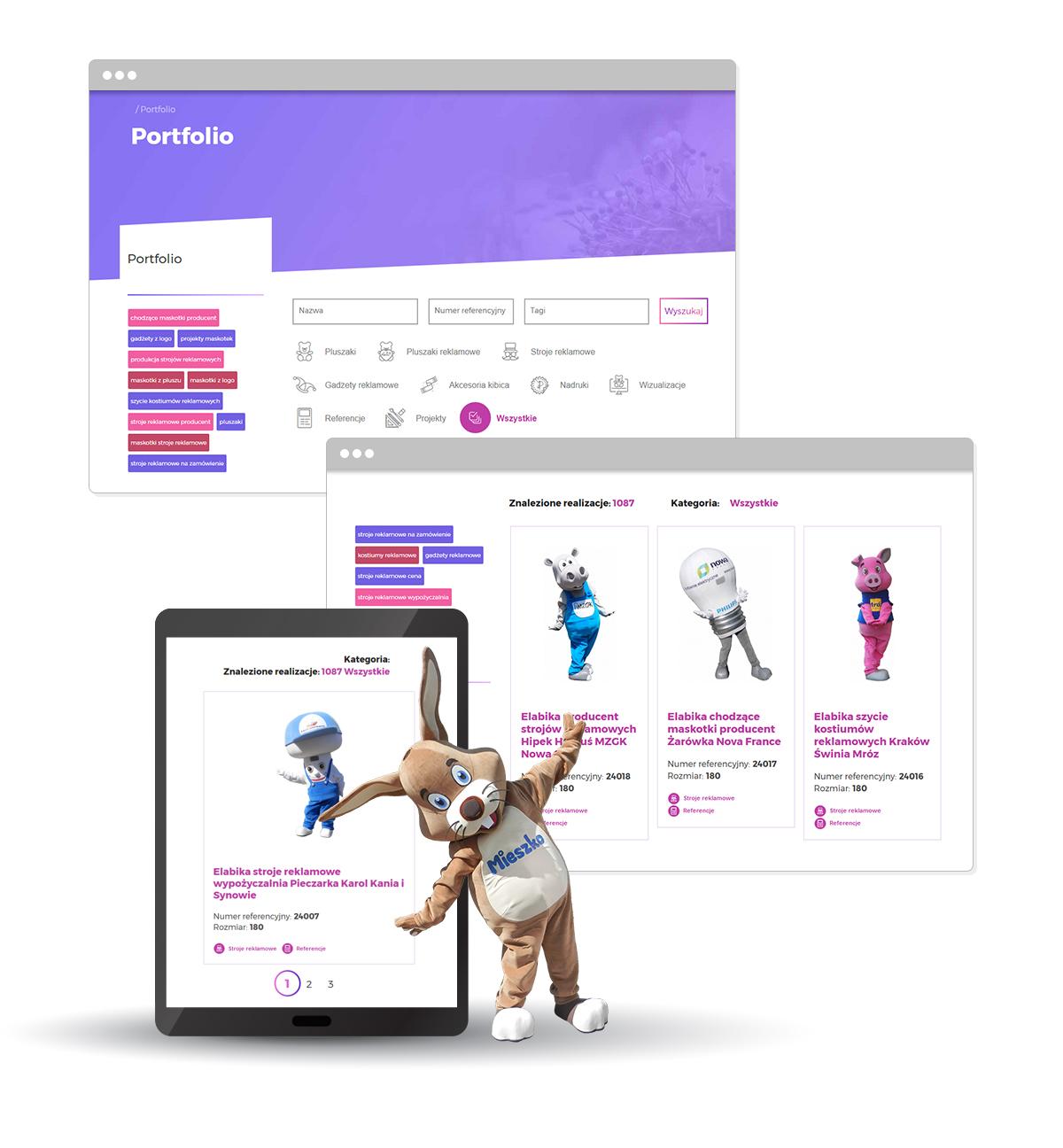Portfolio maskotek reklamowych strona WWW projekt