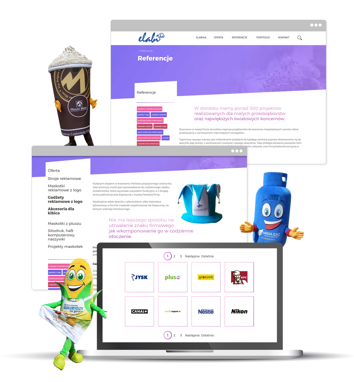 projekt strony reklamowe stroje