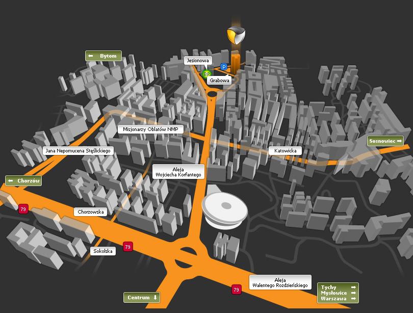 mapa dojazdu do agencji interaktywnej katowice