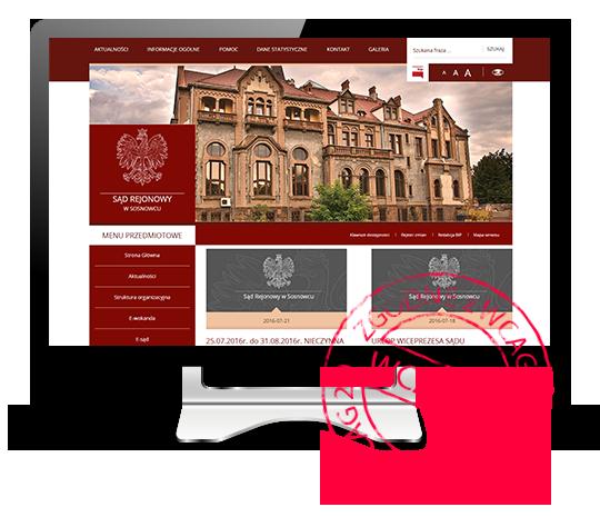 Przykład strony realizowanej dla Sądu Rejonowego w Sosnowcu