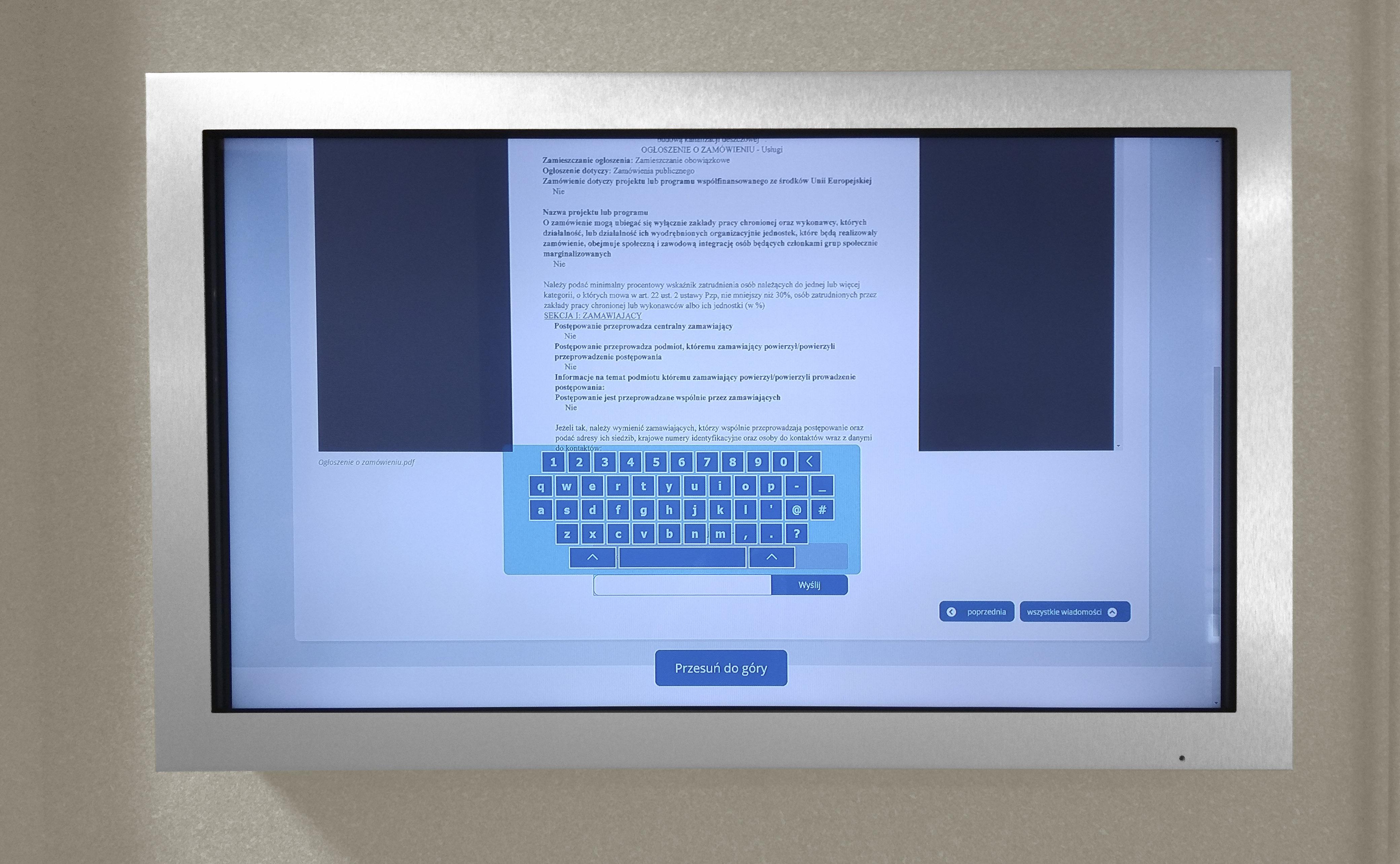 monitor dotykowy interktywny UM Zawiercie - IntraCOM.pl